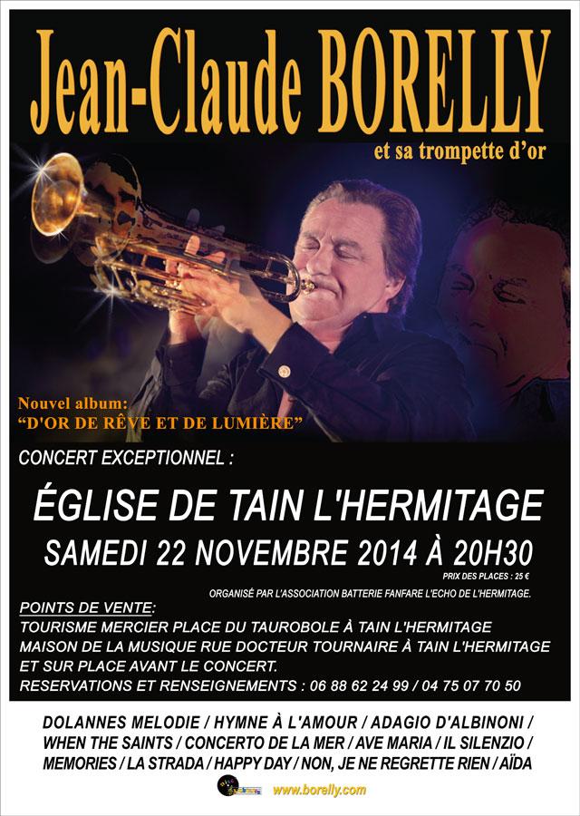 Concert église Jean-Claude Borelly affiche Tain L'Hermitage