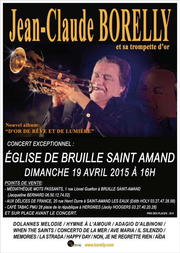 Concert de trompette par Jean-Claude Borelly en l'église de  Bruille Saint Amand