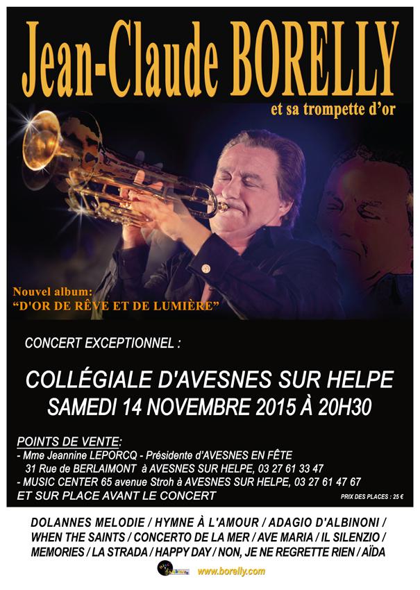 Avesnes sur Helpe, concert de Jean-Claude Borelly, le samedi 14 novembre 2015