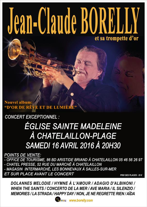Concert de Jean-Claude Borelly à Chatelaillon le 16 avril 2016