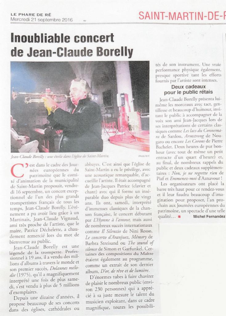 "Article du Phare de Ré : ""Inoubliable concert"""