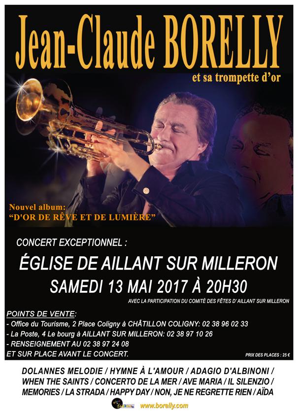 Jean-Claude Borelly en concert le 13 mai à 20 heures à Aillant sur Milleron