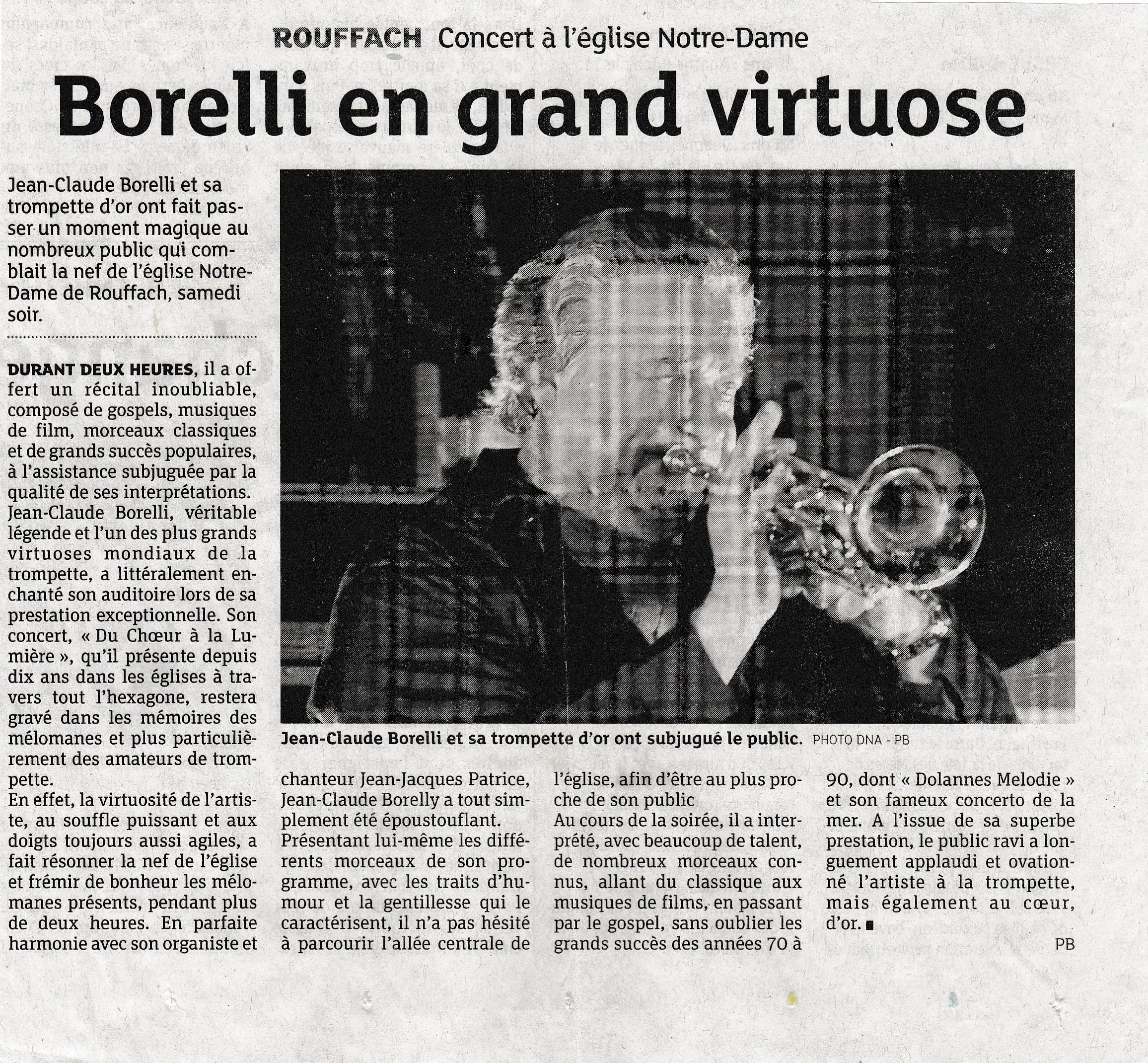 Les Dernières Nouvelles d'Alsace : Borelly en grand virtuose