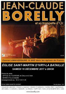 Le samedi 16 décembre, concert de Jean-Claude Borelly en l'église d'Ivry la Bataille