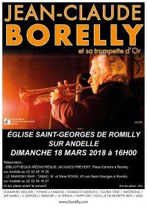 Jean-Claude Borelly en concert, le dimanche 4 mars, à Romilly sur Andelle à 16 heures