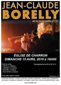 Jean-Claude Borelly en concert en l'église de Charron, le dimanche 15 avril en l'église de Charron