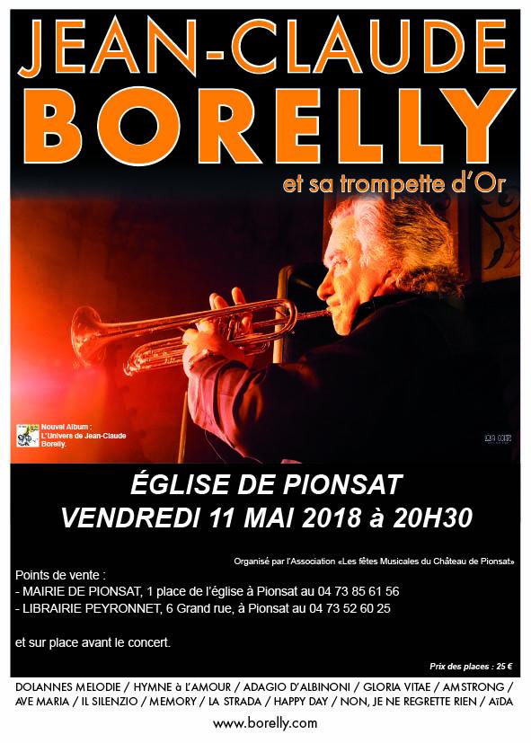 Le vendredi 11 mai à 20 heures 30, concert de Jean-Claude Borelly à Pionsat
