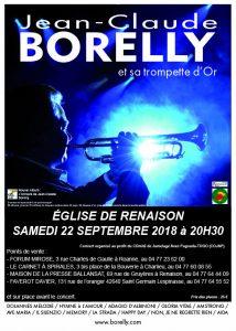 Affiche concert Jean-Claude Borelly à Renaison, le 29 septembre 2018