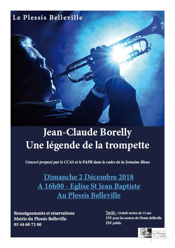 Le dimanche 1 décembre concert de Jean-Claude Borelly au Plessis Belleville