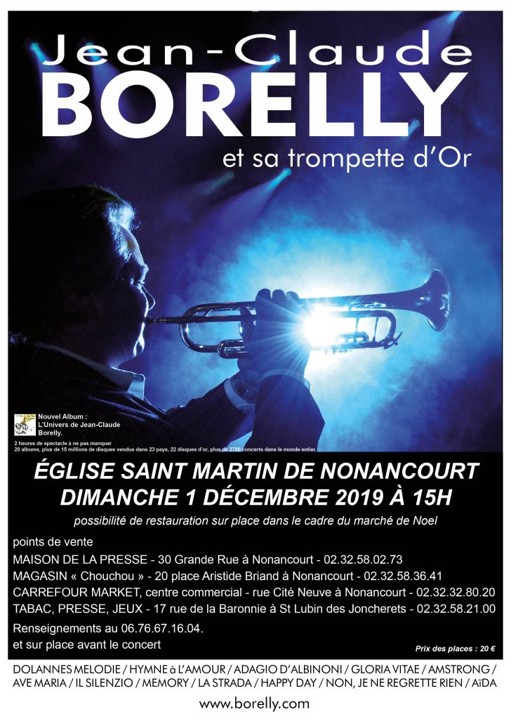 Concert à l'église Saint-Martin de Nonancourt à 15 heures, le dimanche 1er décembre