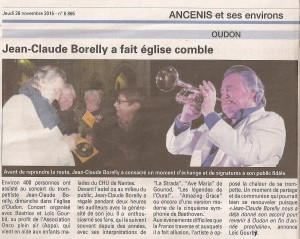 Concert JC Borelly à Ancenis, 22/11/2015, le résumé de L'Echos d'Ancenis