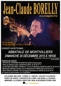 Affiche du concert de Jean-Claude Borelly à l'abbatiale de Montivilliers