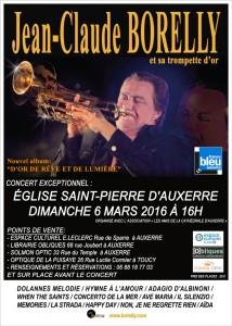 Concert de Jean-Claude Borelly et sa trompette d'or, le dimanche 6 mars à l'église Saint Pierre d'Auxerre