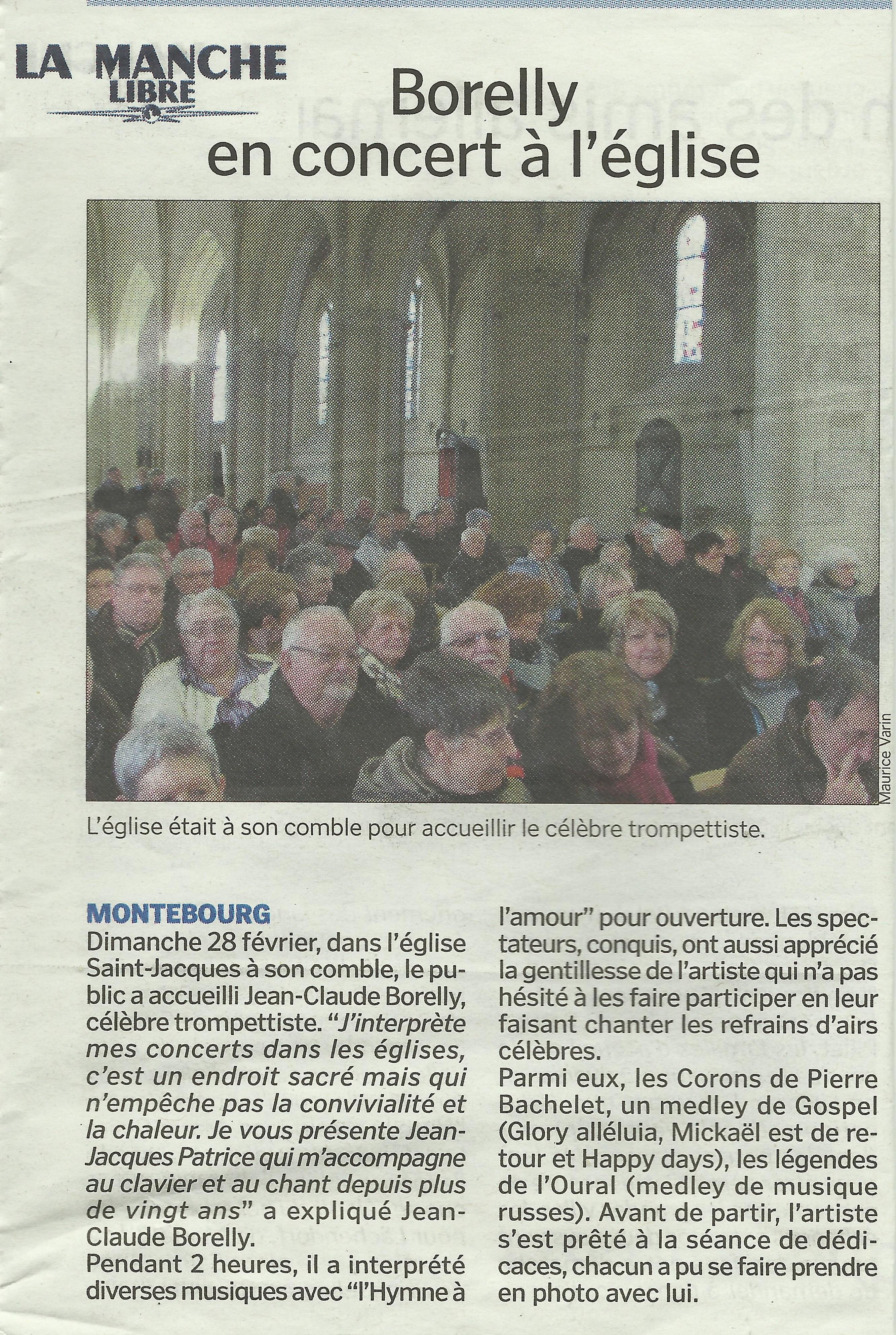 Article sur le Concert de JC Borelly, paru dans La Manche Libre, du 28/02/2016