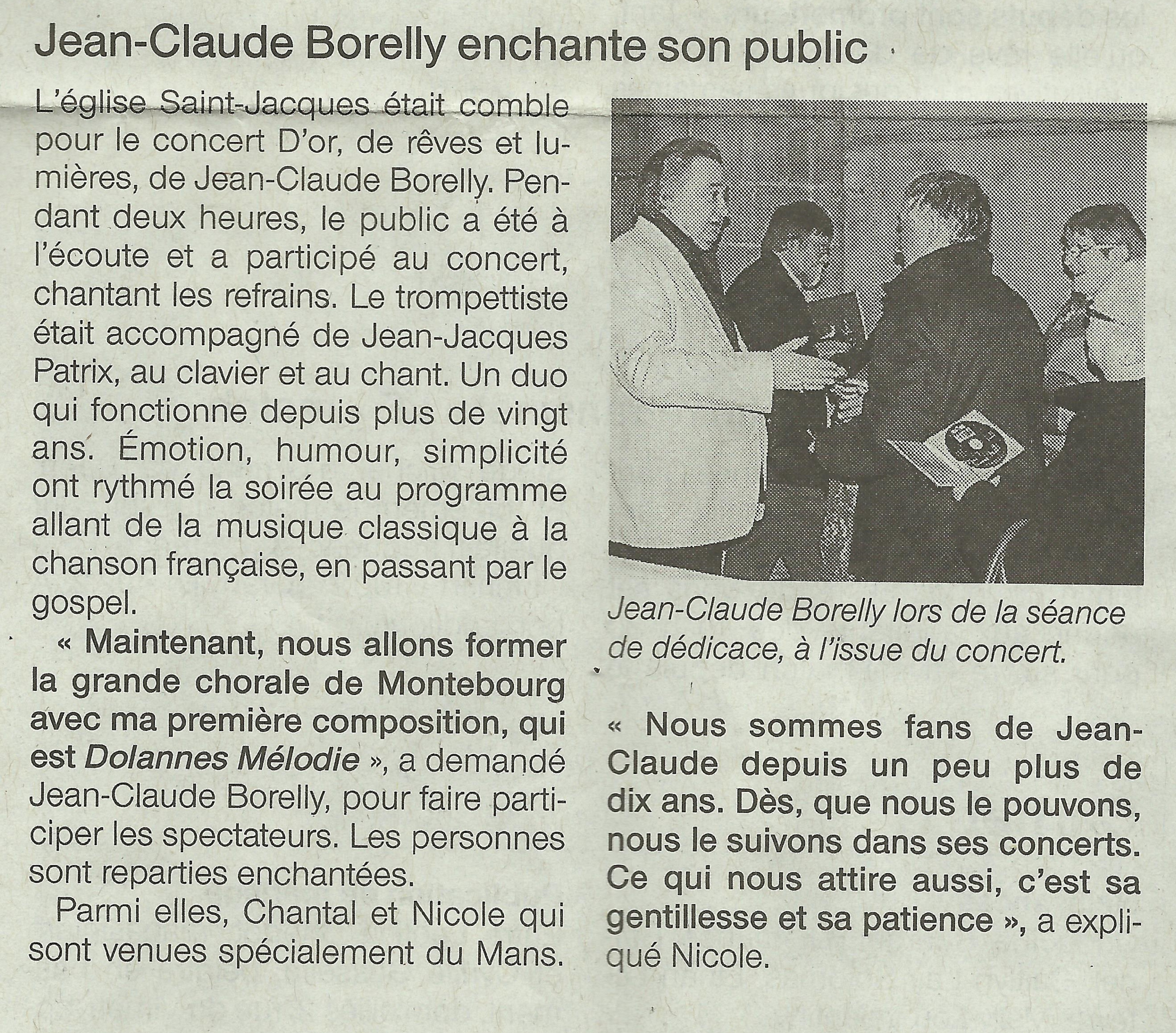 Article Concert JC Borelly Ouest France