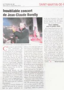 """Article du Phare de Ré : """"Inoubliable concert"""""""