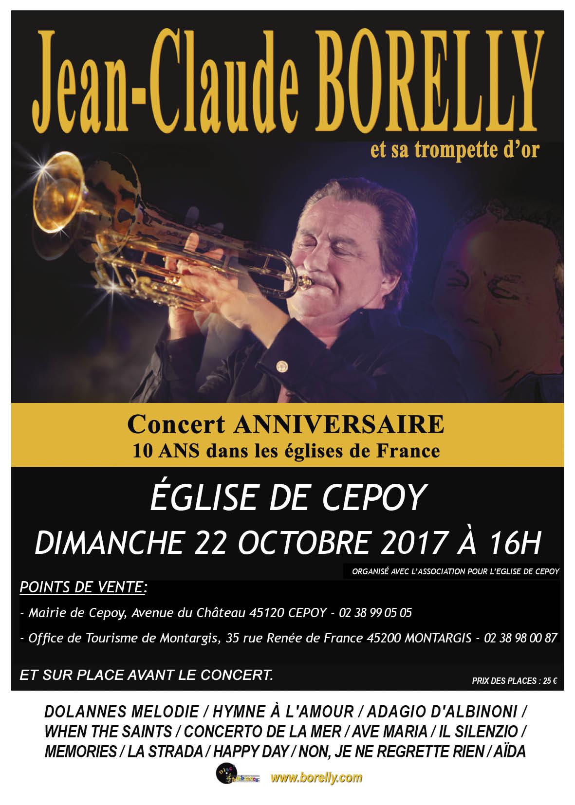 Concert à l'église de Cepoy à 16 heures, le dimanche 22 octobre