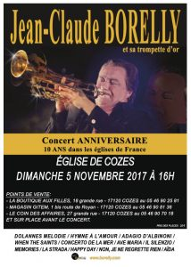 Concert de Jean-Claude Borelly à l'église de Cozes à 16 heures, le dimanche 5 novembre