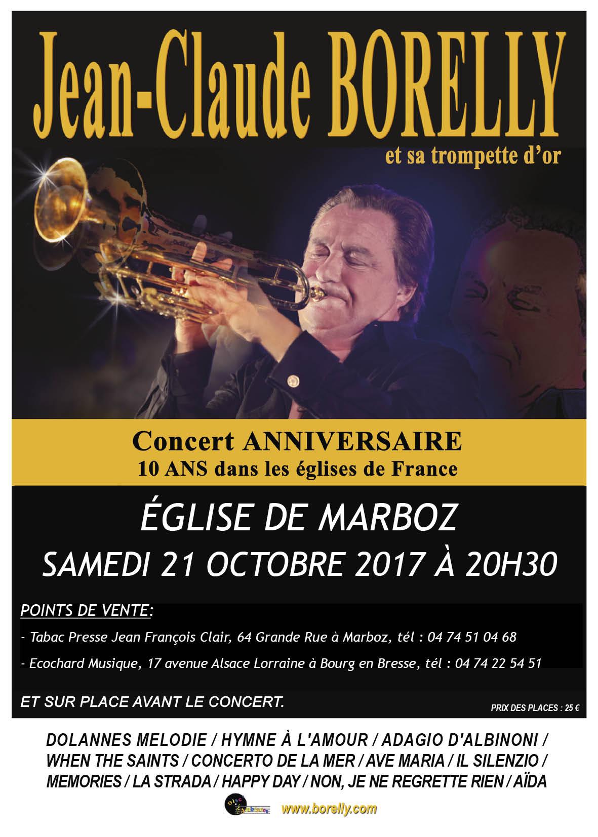 Concert à l'église de Marboz à 20 heures 30, le samedi 21 octobre
