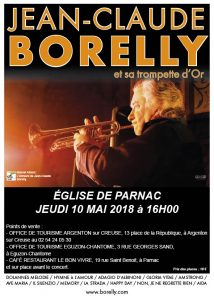 Le jeudi 10 mai à 16 heures, concert de Jean-Claude Borelly à Parnac