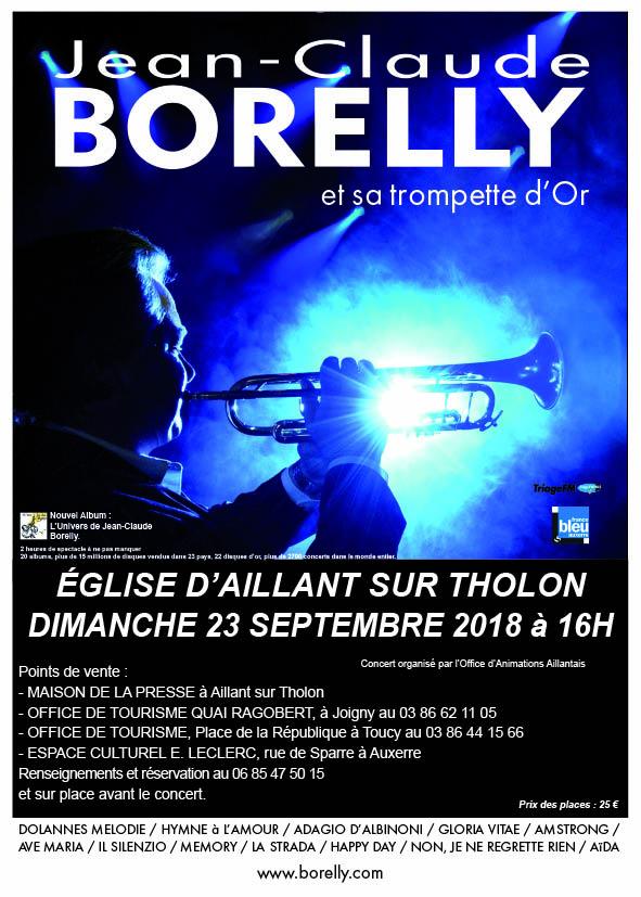 Concert du 23 septembre de Jean-Claude Borelly en l'église St Martin à Aillant-sur-Tholon