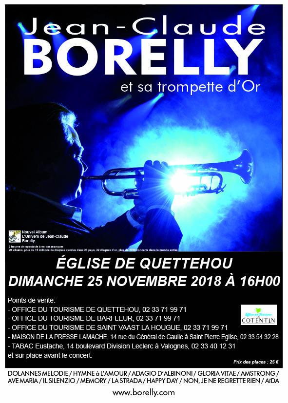 Le dimanche 25 novembre concert de Jean-Claude Borelly à Quettehou