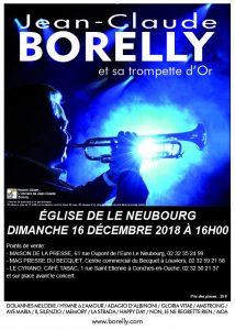 Le dimanche 16 décembre concert de Jean-Claude Borelly à Le Neubourg