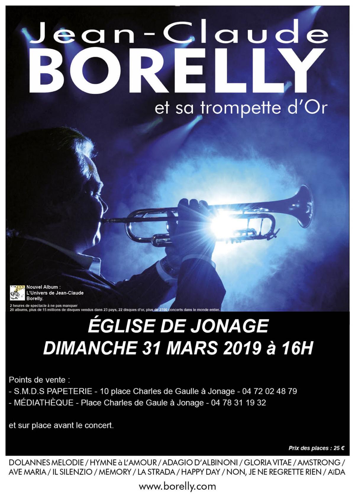 Jean-Claude Borelly en concert à l'église St Jean Baptiste de Jonage (Rhône) à 16 heures, le 31 mars