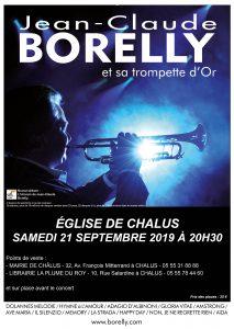 Jean-Claude Borelly en l'église Notre-Dame de l'Assomption de Châlus à 20 heures 30, le samedi 21 septembre